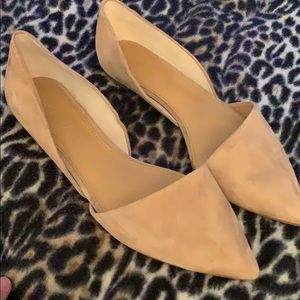 Tan suede J Crew pointed flats
